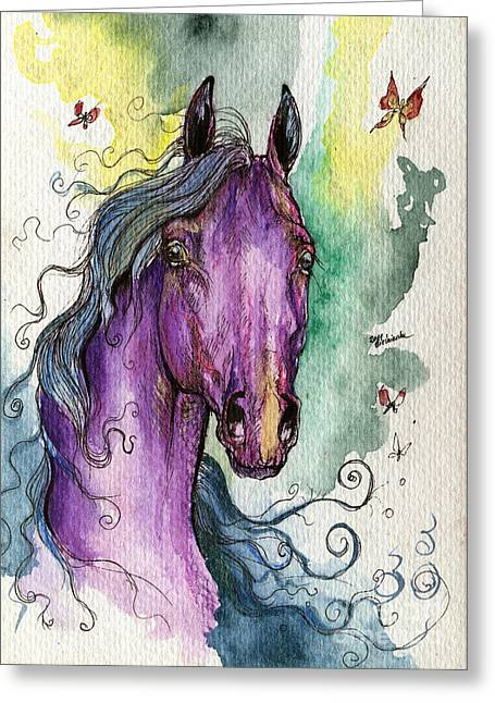 Fairytale Art Greeting Cards - Purple horse Greeting Card by Angel  Tarantella