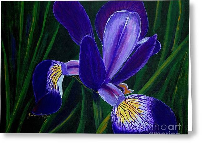 Purple Iris Greeting Card by Barbara Griffin