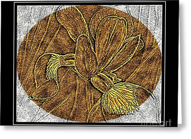 Purple Iris - Brass Etching Greeting Card by Barbara Griffin