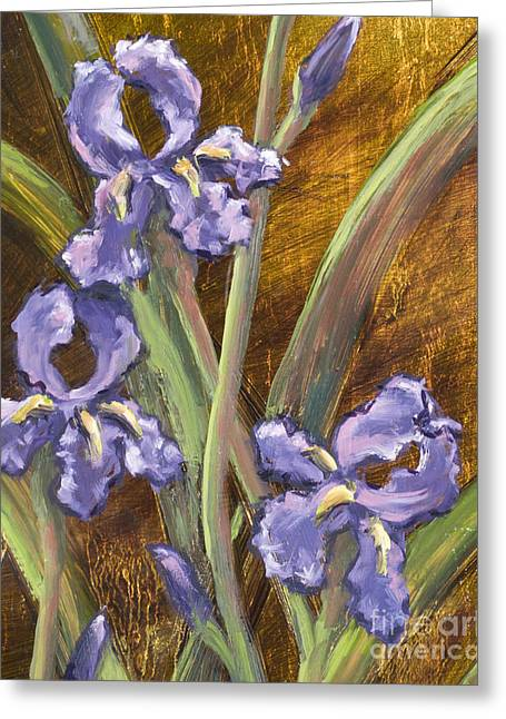 Purple Iris II With Gold Leaf Greeting Card by Vic  Mastis