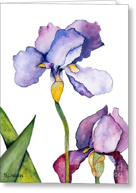 Purple Iris Leaning Toward The Sun Greeting Card by Sandy Linden
