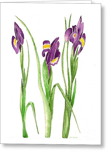 Greeting Card featuring the painting Purple Iris  by Nan Wright