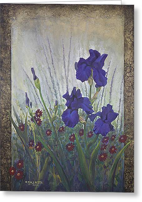 Greeting Card featuring the painting Purple Iris by Rob Corsetti