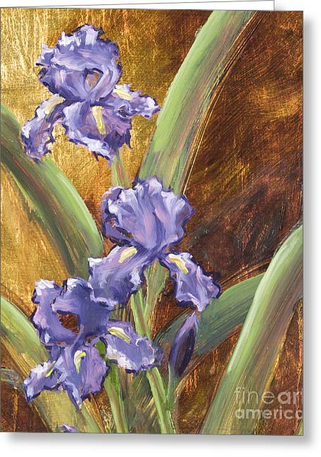 Purple Iris With Gold Leaf By Vic Mastis Greeting Card by Vic  Mastis