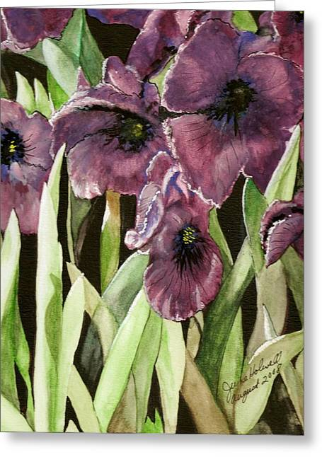 Purple Irises Greeting Card by June Holwell