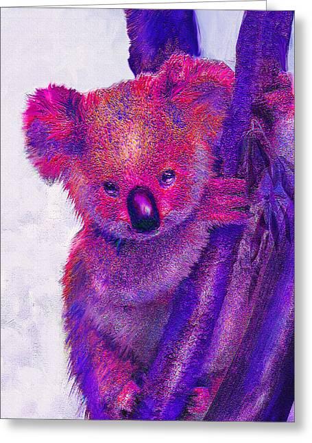 Purple Koala Greeting Card by Jane Schnetlage