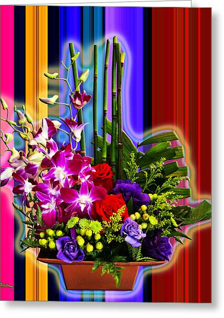 Purple Lady Flowers Greeting Card