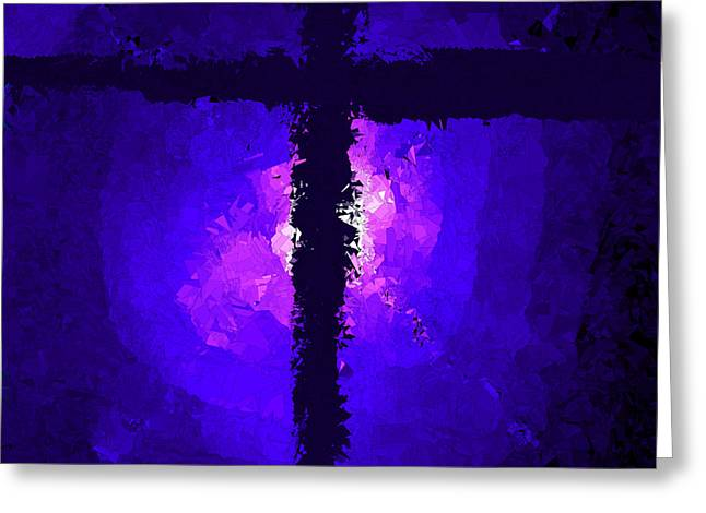 Purple Light Behind The Cross Greeting Card