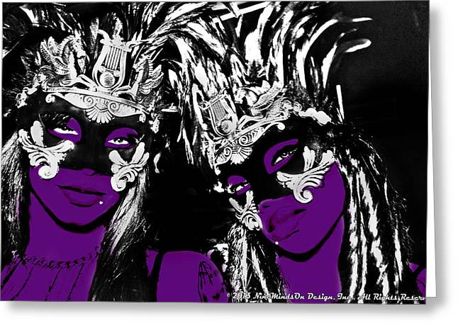 Purple Mask Greeting Card by Ley Clarie Gray