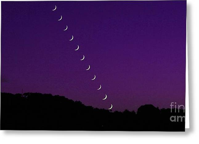 Purple Moon Setting In West Greeting Card