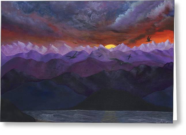 Purple Mountain Sunset Greeting Card by Sandy Jasper