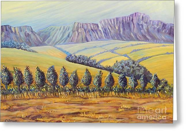Purple Mountains Yellow Fields Greeting Card by Caroline Street
