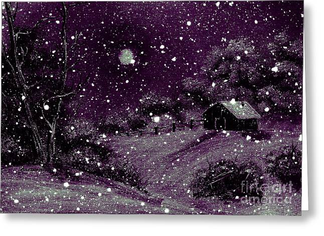 Purple Night Full Moon Greeting Card by Barbara Griffin
