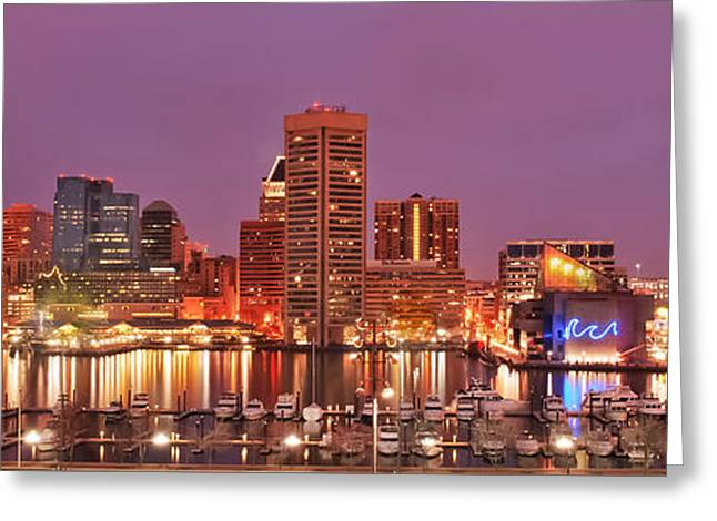 Purple Night In Baltimore Greeting Card