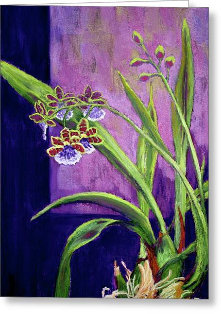 Greeting Card featuring the painting Purple Orchids by Nancy Jolley