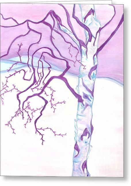 Purple Paper Birch Greeting Card