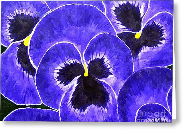 Purple Passion Pansies Greeting Card by Barbara Griffin