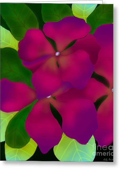 Purple Periwinkles Greeting Card by Latha Gokuldas Panicker