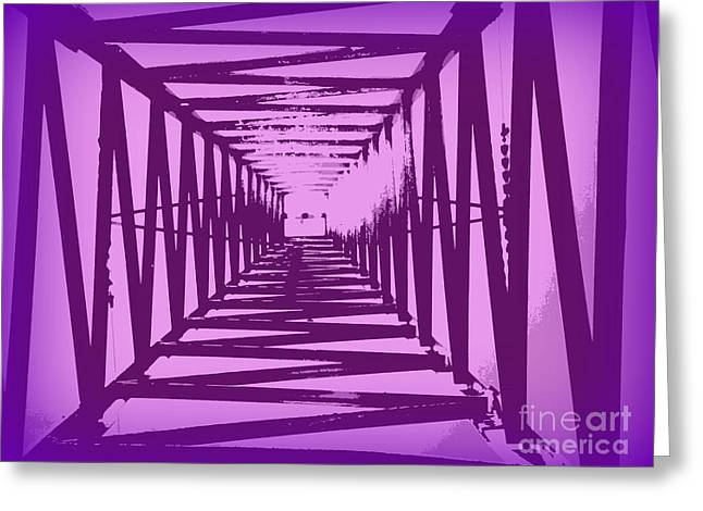 Purple Perspective Greeting Card by Clare Bevan
