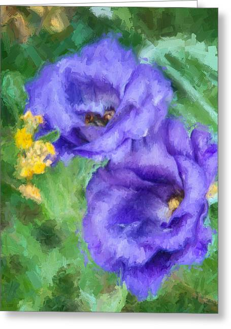 Greeting Card featuring the painting Purple Petals by Ike Krieger