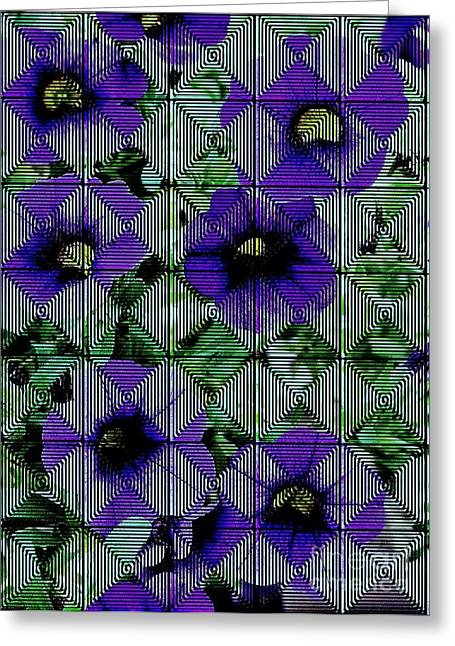 Purple Petunia Abstract Greeting Card by Marsha Heiken