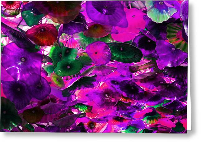 Purple Pink And Green Glass Flowers Greeting Card by Sheila Kay McIntyre