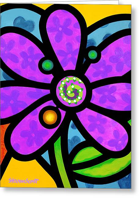Purple Pinwheel Daisy Greeting Card