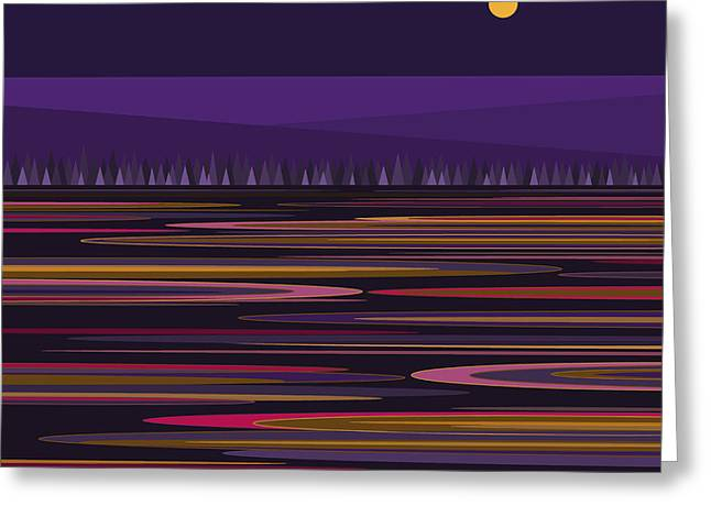 Purple Pond Reflections Greeting Card by Val Arie