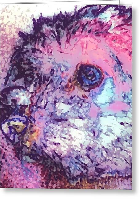 Purple Pooch Greeting Card by Lady Ex