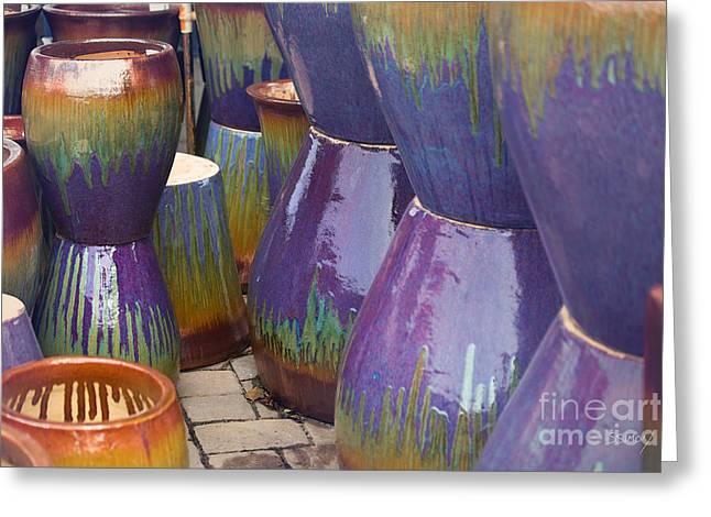 Purple Pots Greeting Card