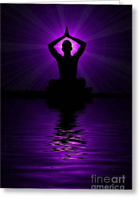 Purple Prayer Greeting Card by Tim Gainey