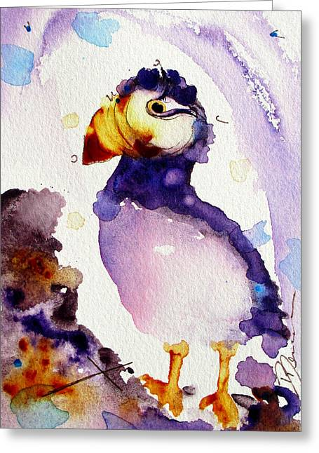 Purple Puffin Greeting Card