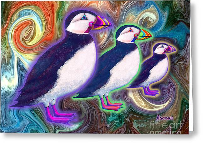 Greeting Card featuring the mixed media Purple Puffins by Teresa Ascone