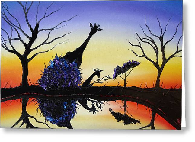 Purple Reflection Of Serengeti Greeting Card by Portland Art Creations