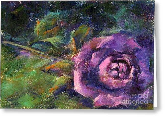 Purple Rose Greeting Card by Addie Hocynec