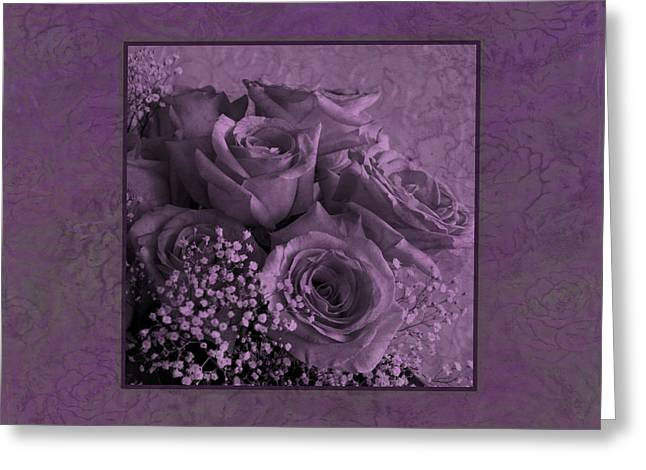 Greeting Card featuring the photograph Purple Roses Delight by Sandra Foster