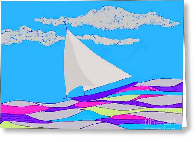 Purple Sailboat Greeting Card