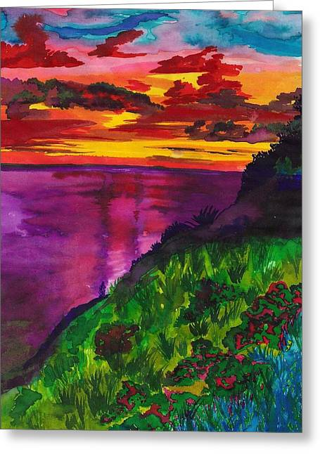 Purple Seas Greeting Card