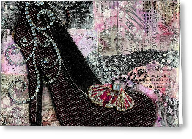 Purple Shoes With Butterfly On Pink Purple Abstract Background Greeting Card by Janelle Nichol
