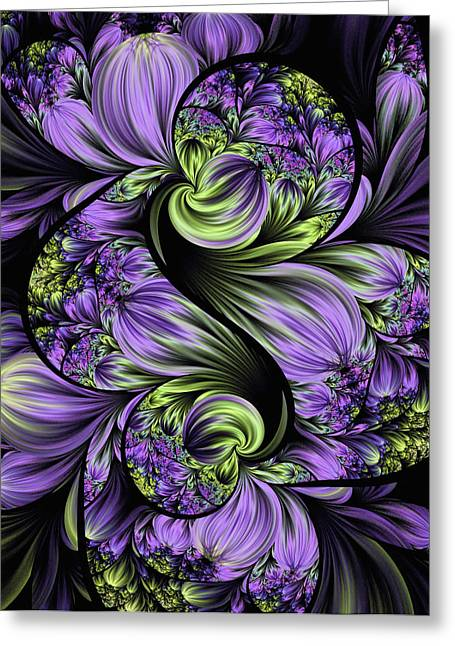 Purple Silk Flowers Greeting Card