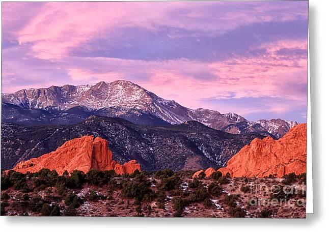 Purple Skies Over Pikes Peak Greeting Card by Ronda Kimbrow