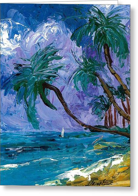 Purple Sky Palms Greeting Card