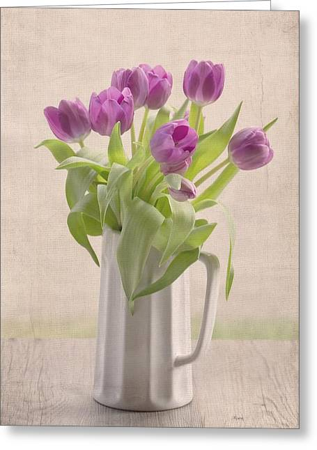 Purple Spring Tulips Greeting Card