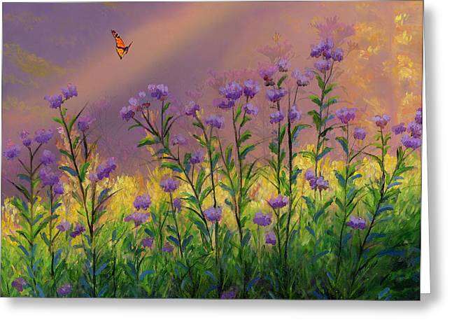 Purple statice flowers painting by cecilia brendel purple statice flowers greeting card by cecilia brendel mightylinksfo
