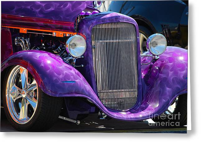 Purple Street Rod Greeting Card