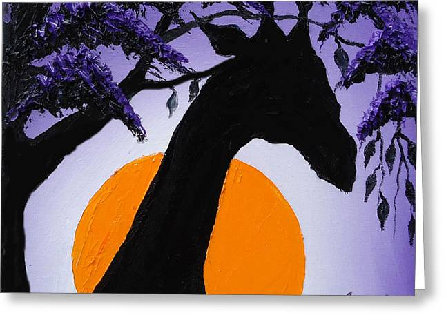 Purple Sun Giraffe Greeting Card by Portland Art Creations