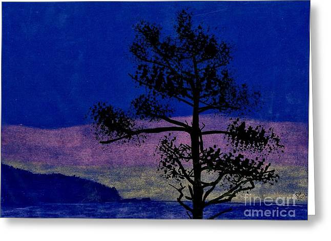 Greeting Card featuring the drawing Purple Sunset Bay by D Hackett