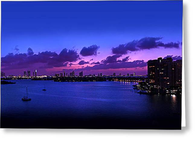 Purple Sunset Greeting Card by Michael Guirguis