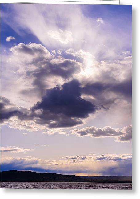 Purple Sunset On The Hudson River Greeting Card