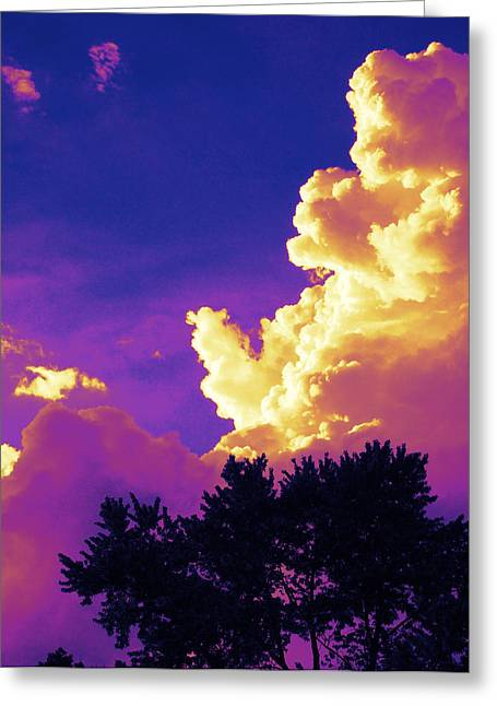 Purple Thunder Greeting Card by Deborah Fay